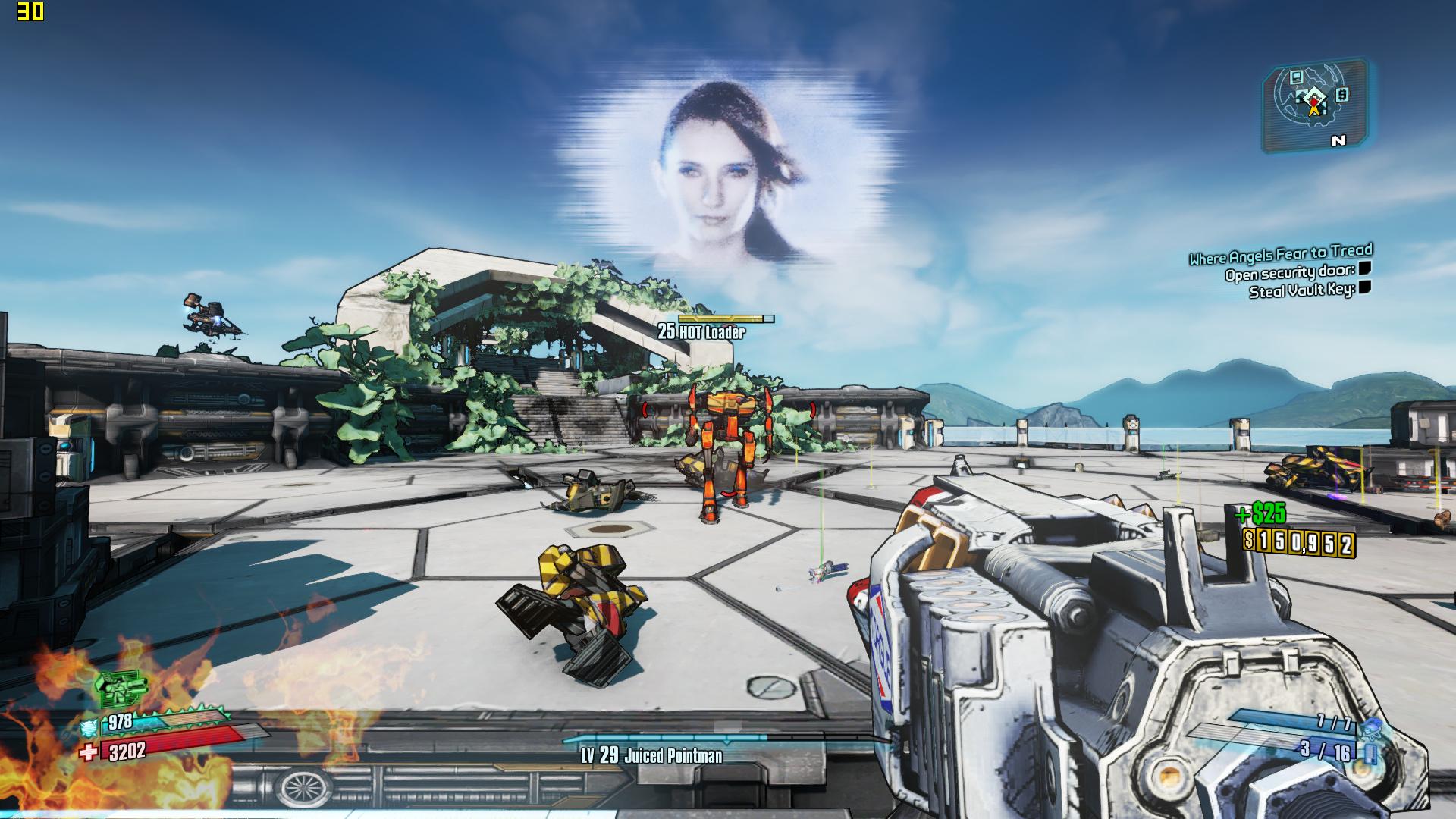 Mini-PC Skull Canyon im Test: Totenkopf-NUC mal nicht von ihren Treibern ermordet - Borderlands 2 in 720p auf dem Skull Canyon (Screenshot: Marc Sauter/Golem.de)