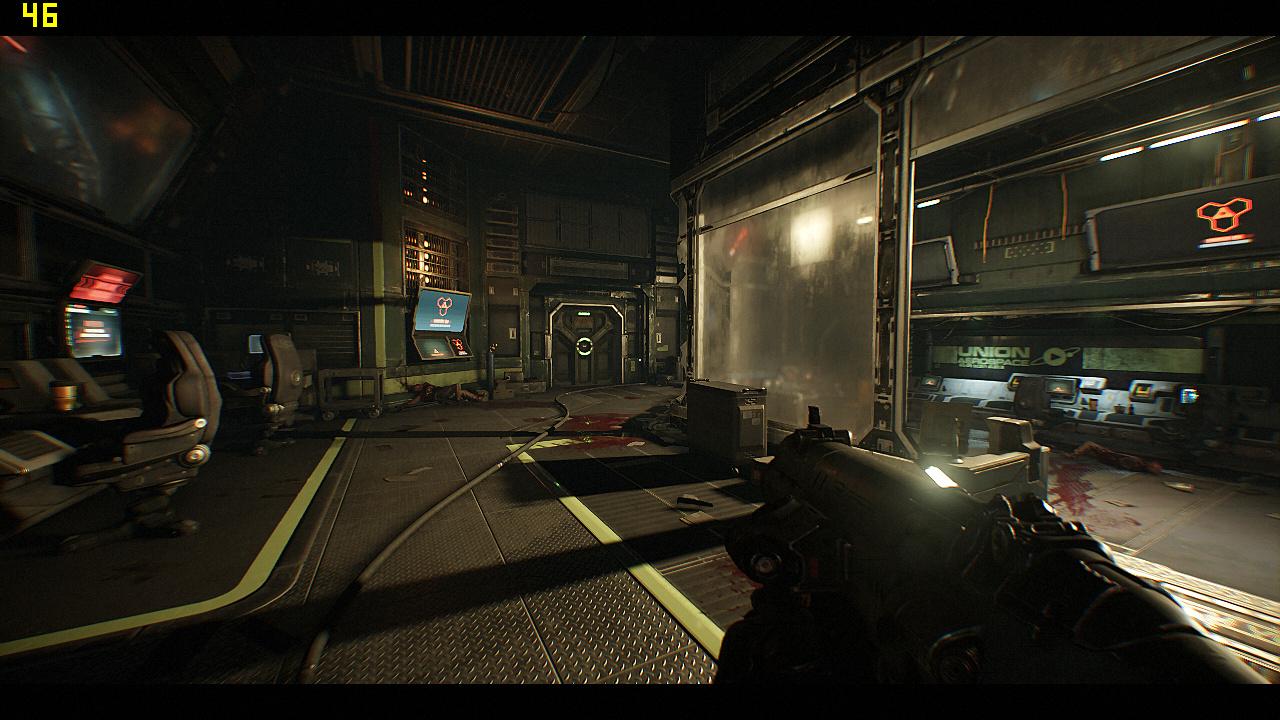 Mini-PC Skull Canyon im Test: Totenkopf-NUC mal nicht von ihren Treibern ermordet - Doom in 720p auf dem Skull Canyon (Screenshot: Marc Sauter/Golem.de)
