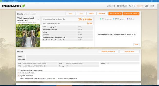 Akkulaufzeit des alten Thinkpads mit dem PCMark8, nicht im Bild sind die Hintergrundanwendungen. (Screenshot: Marc Sauter/Golem.de)