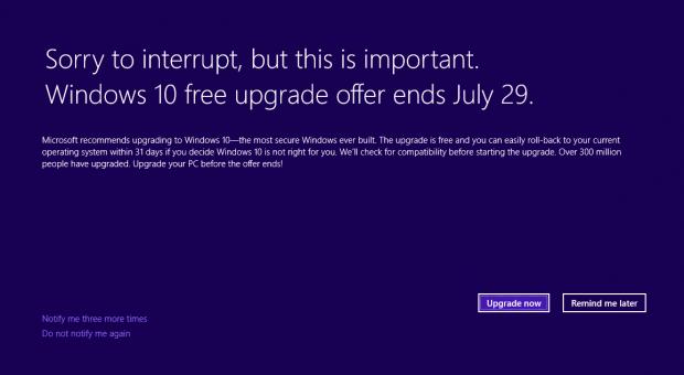 Der Hinweis auf das kostenlose Upgrade erscheint auf dem kompletten Bildschirm. (Bild: Microsoft)