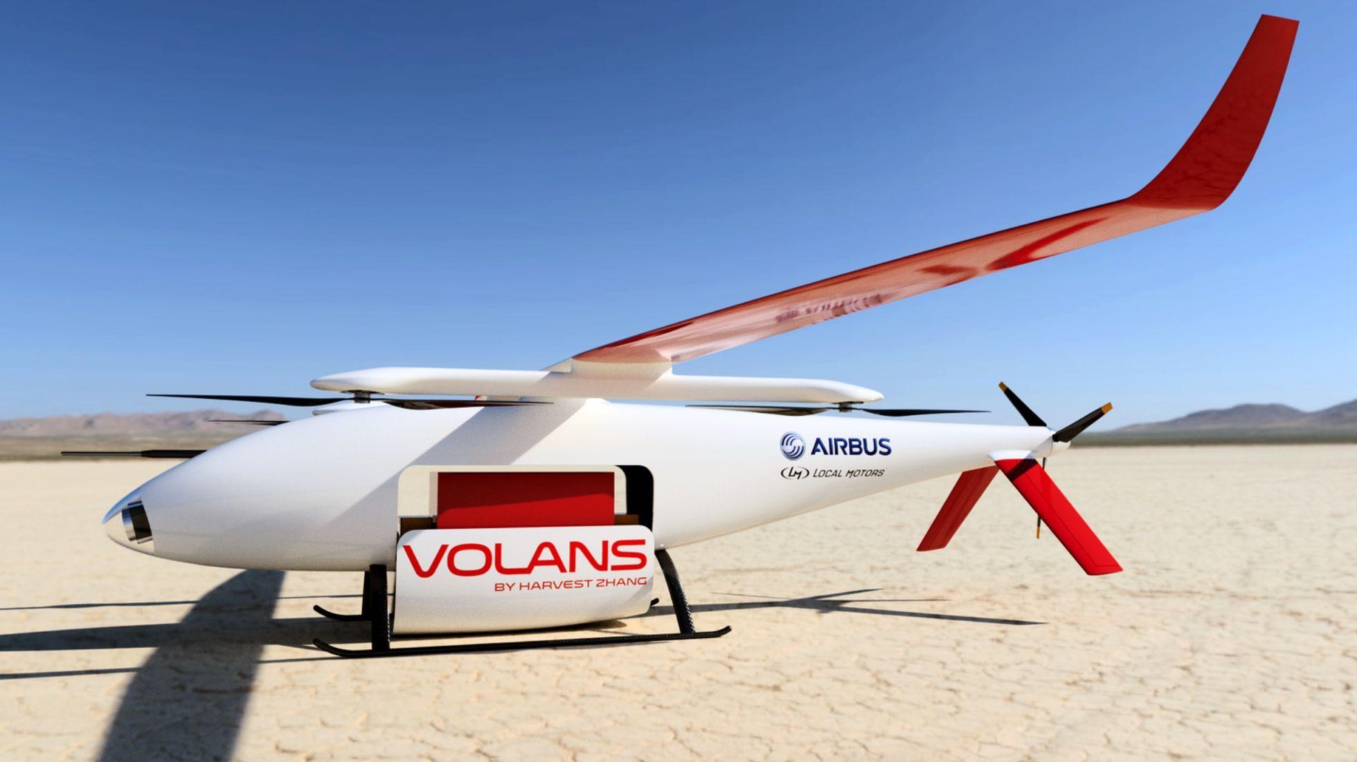 Crowdsourcing: Airbus zeichnet Lieferdrohnen aus - Alle Drohnen sind Senkrechtstarter, fliegen aber horizontal. (Bild: Airbus Group/Local Motors)