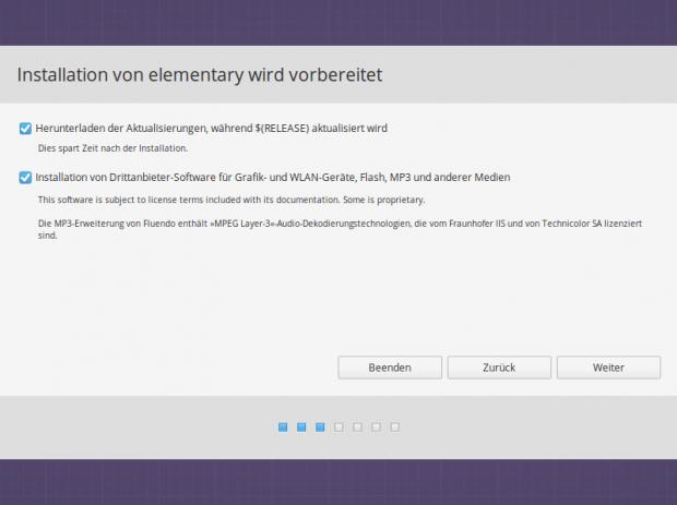 Der Installer bietet die üblichen Optionen zur Beeinflussung der Installation (Bild: Screenshot Valentin Höbel)