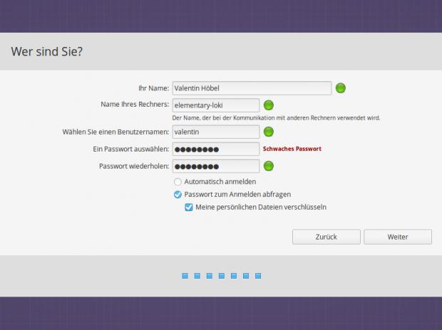 Im letzten Schritt fordert der Installer zur Eingabe eines Host- und Benutzernamens auf. (Bild: Screenshot Valentin Höbel)