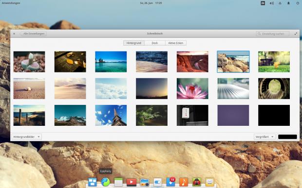 Elementary OS bringt die bekannten Hintergrundbilder für den Desktop mit. (Bild: Screenshot Valentin Höbel)
