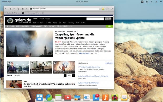 Epiphany bzw. Web ist der neue Standardbrowser (Bild: Screenshot Valentin Höbel)