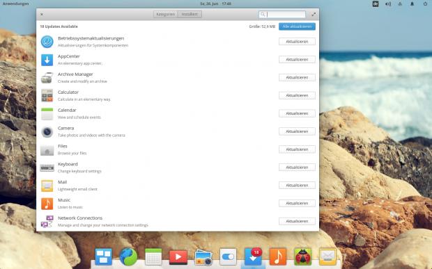 Im AppCenter lassen sich auch Aktualisierungen vornehmen... (Bild: Screenshot Valentin Höbel)