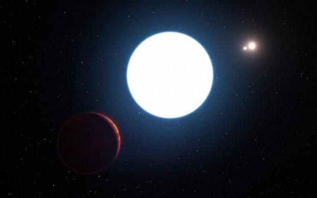 Das System HD131399 im Sternbild Zentaur besteht aus drei Sternen und einem Planeten. (Bild: L. Calçada/M. Kornmesser/Eso)