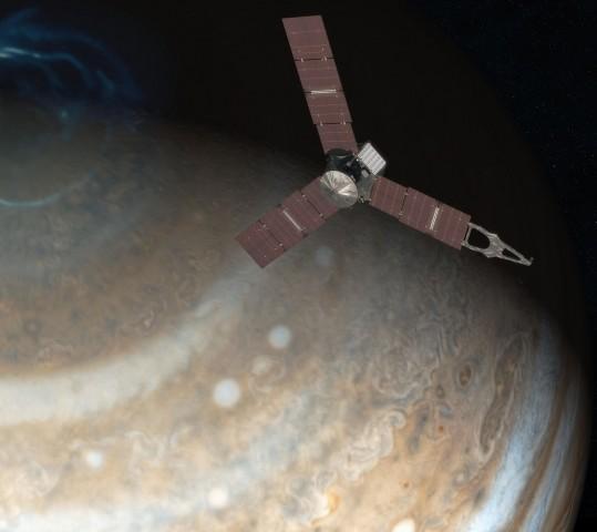 Junos Umlaufbahn führt über die Pole, um die Strahlenbelastung für die Sonde so gering wie möglich zu halten. (Foto: Nasa/JPL-Caltech)