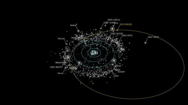 Die Bahn des Zwergplaneten RR245 um die Sonne ist elliptisch. (Bild: Alex Parker/Ossos)
