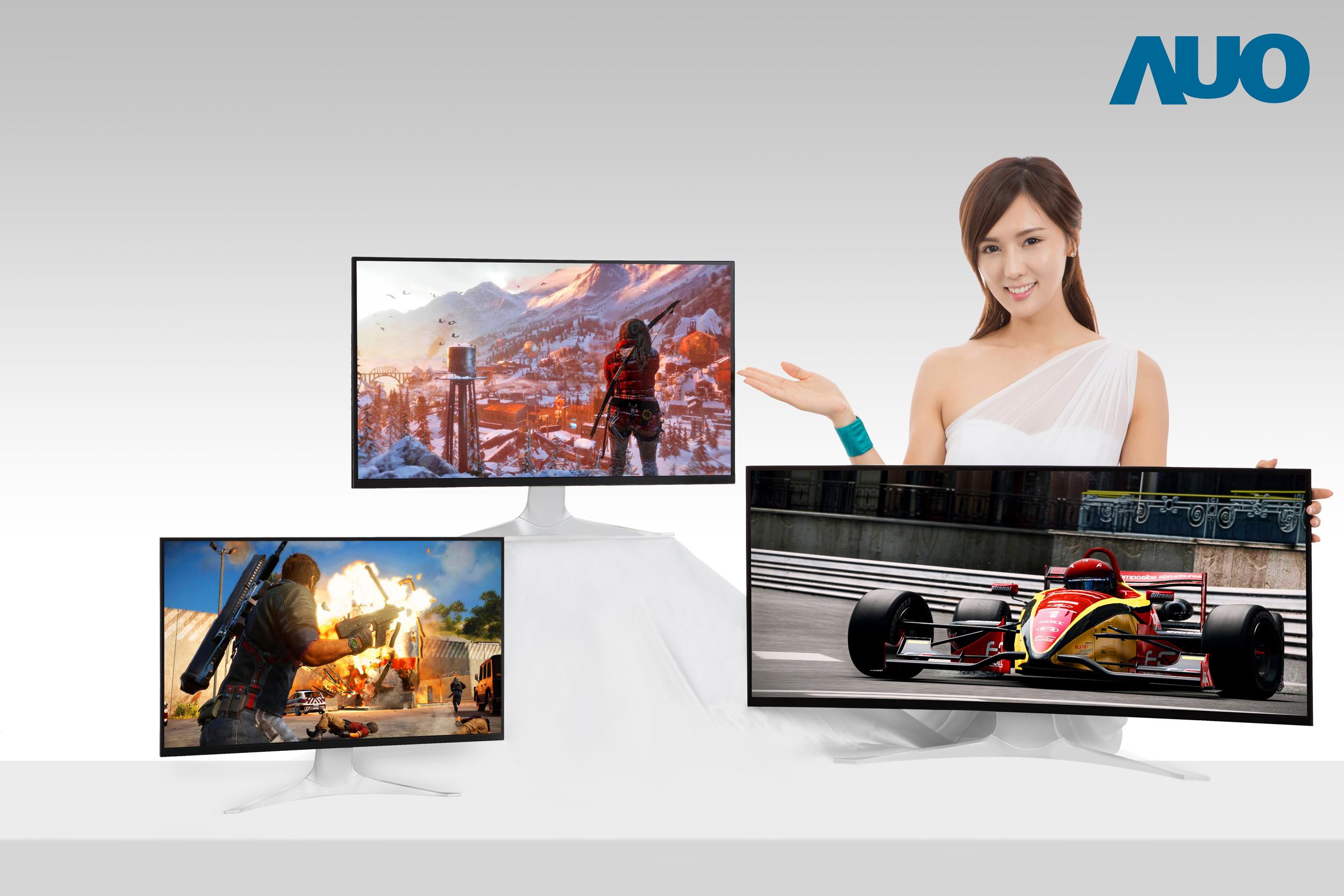 Displays: 120 Hz für Notebooks, weniger Rand für Smartphones und TVs - 25-, 27- und 35-Zoll-Panels mit 240 Hz, 144 Hz und 1800R-Curved-Design (Bild: AU Optronics)