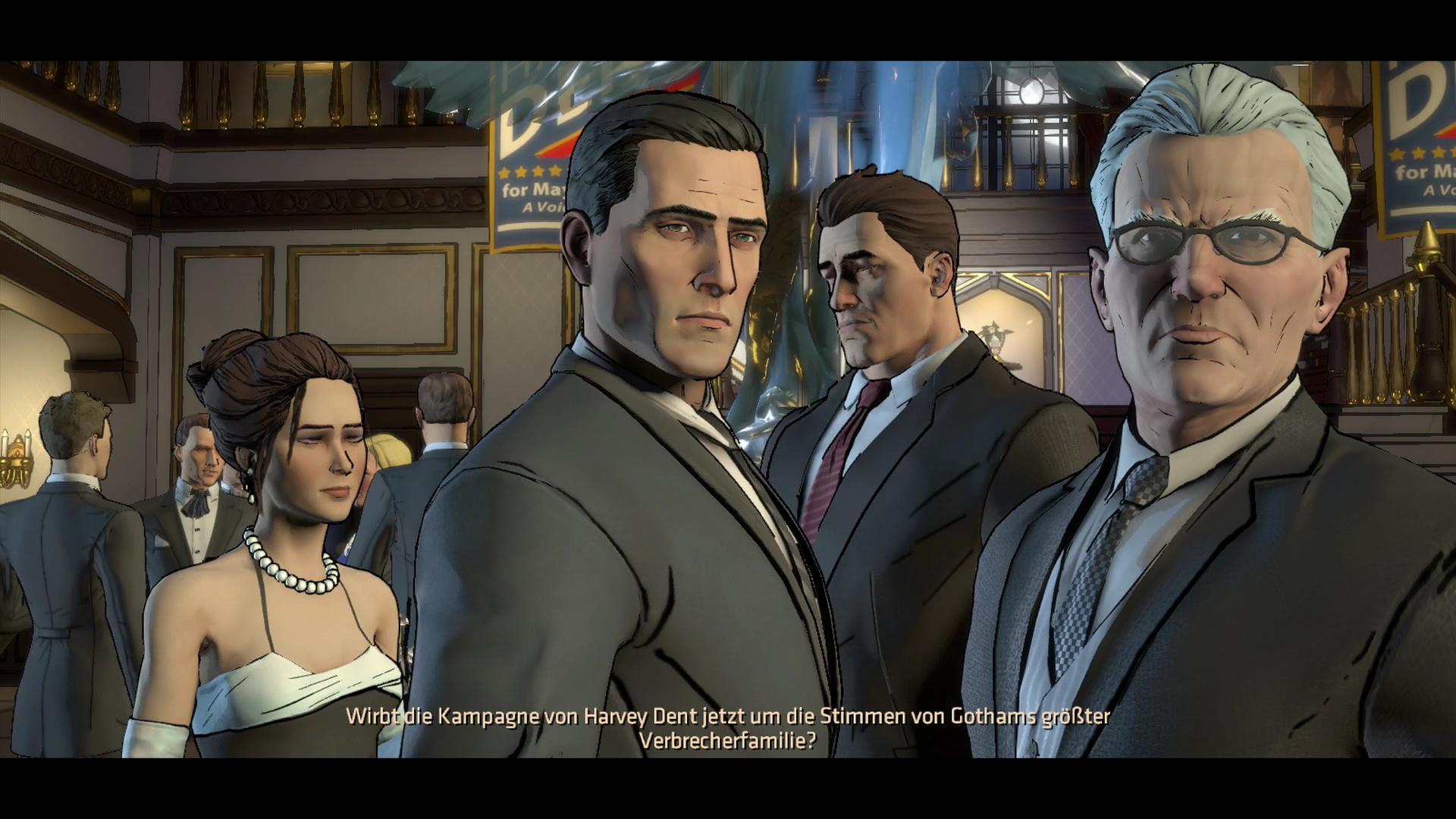 Batman im Kurztest: Interaktiver Milchbubi - Bruce Wayne (Mitte) bei einem Empfang. (Screenshot: Golem.de)