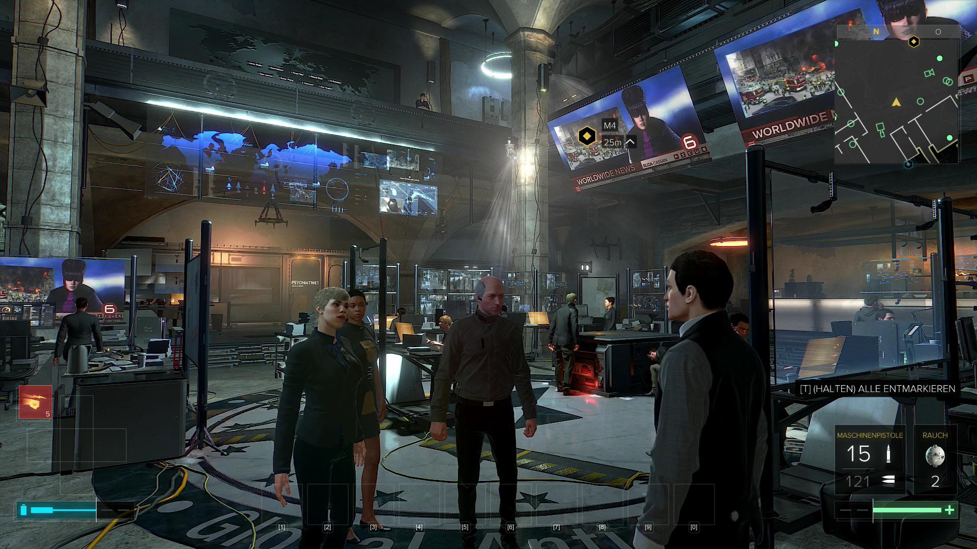 Deus Ex Mankind Divided im Test: Der Agent aus dem Hardwarelabor - Das Hauptquartier von Jensens Interpol-Abteilung (Screenshot: Golem.de)