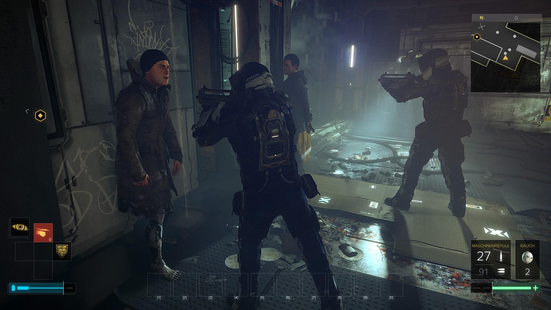 Deus Ex Mankind Divided im Test: Der Agent aus dem Hardwarelabor - In Golem City geht die Polizei betont hart vor. (Screenshot: Golem.de)