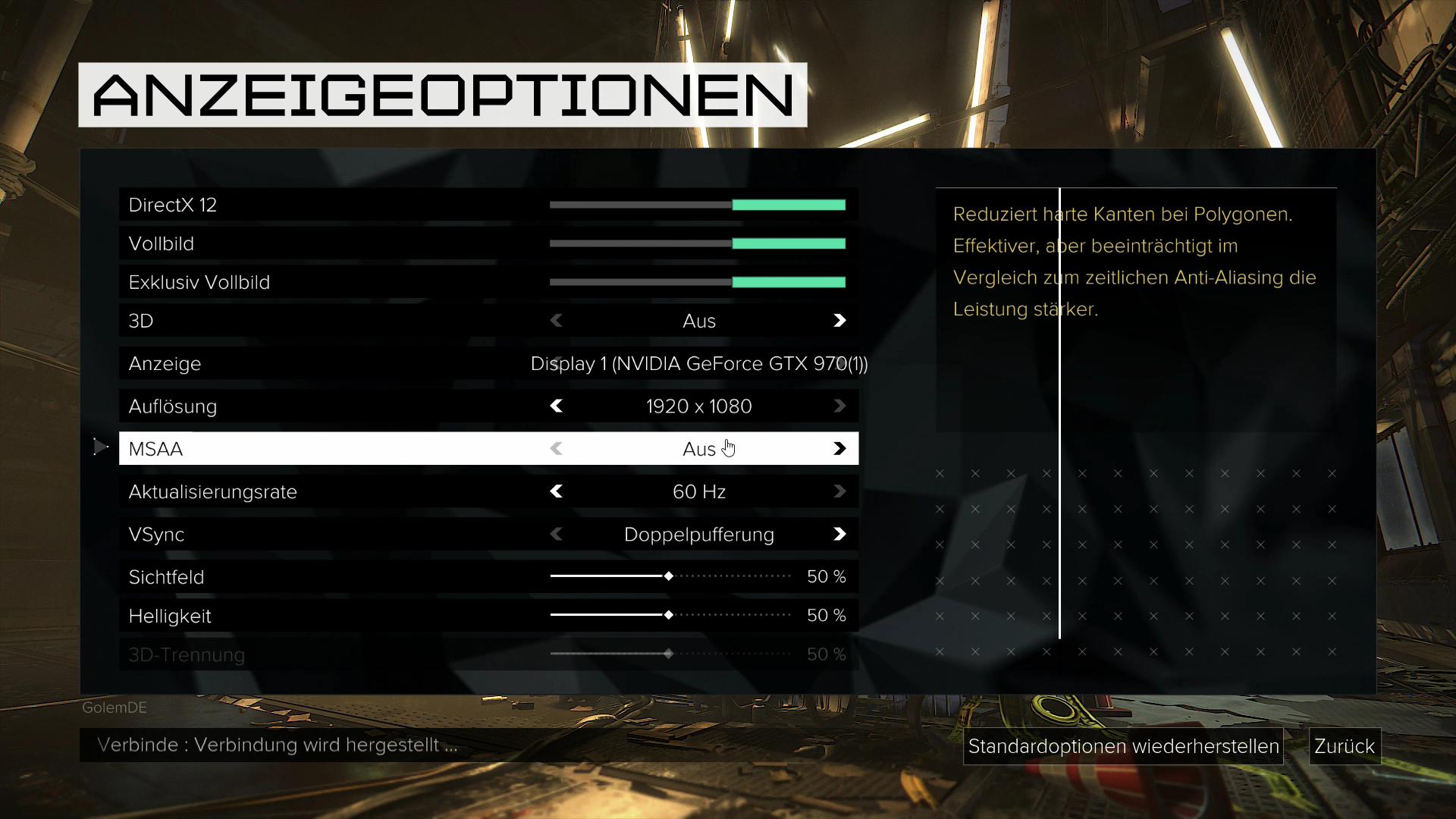 Deus Ex Mankind Divided im Test: Der Agent aus dem Hardwarelabor - ... in den Grafikeinstellungen ... (Screenshot: Golem.de)