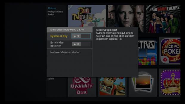 Mit einer Tastenkombination wird das Entwicklermenü auf einem Fire TV aufgerufen. (Screenshot: Golem.de)