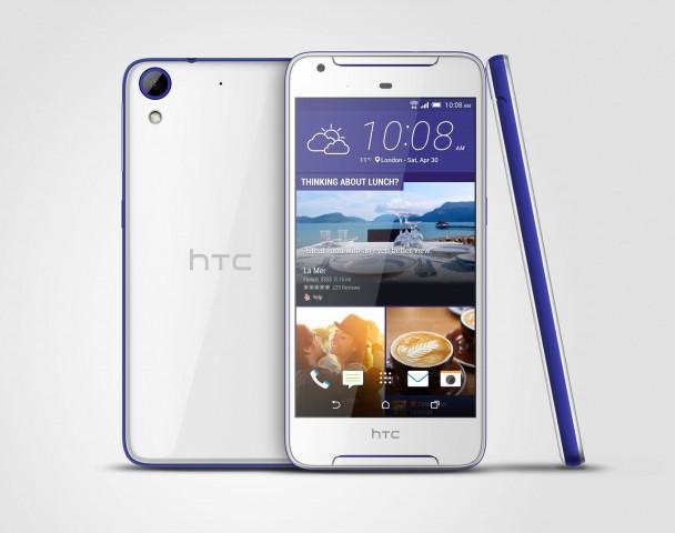 Das HTC Desire 628 kommt in den Farbkombinationen Weiß-Blau ...