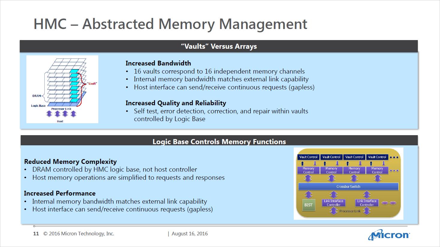 Next Gen Memory: So soll der Speicher der nahen Zukunft aussehen - Hybrid Memory Cubes weisen viele Funktionen auf, die HBM nicht bietet - und nicht braucht. (Bild: Micron)