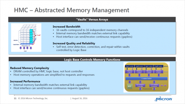 Hybrid Memory Cubes weisen viele Funktionen auf, die HBM nicht bietet - und nicht braucht. (Bild: Micron)