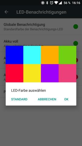 Bei OxygenOS kann die Farbe der Benachrichtigungs-LED aus acht vorbestimmten Farben ausgewählt werden. (Screenshot: Golem.de)