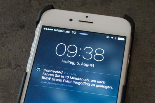 Rechtzeitig losfahren: BMW Connected benachrichtigt den Fahrer. (Foto: Werner Pluta/Golem.de)