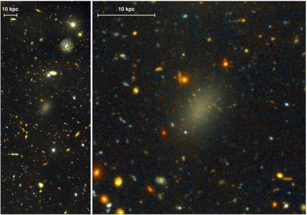 Nur ein fahler Fleck: Die Galaxie Dragonfly 44 besteht fast vollständig aus dunkler Materie. (Foto: Pieter van Dokkum, Roberto Abraham/Gemini, Sloan Digital Sky Survey)