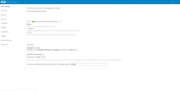 Aktuell ist Nextcloud in Version 10 verfügbar.