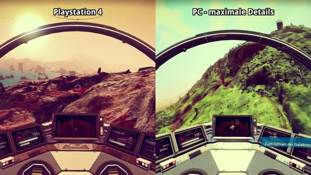 Konsolen- und PC-Fassung lassen Details im Raumschiff sichtbar einrieseln.