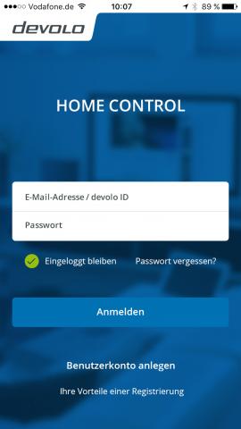 Der Startbildschirm der neuen Home-Control-App (Bild: Devolo)