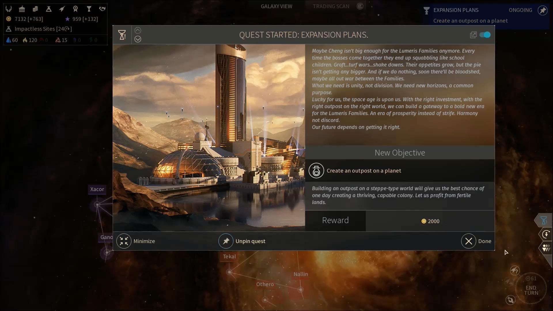 Endless Space 2 in der Vorschau: Bereits jetzt meisterlicher als Orion - Eine Quest in Endless Space 2 (Screenshot: Golem.de)