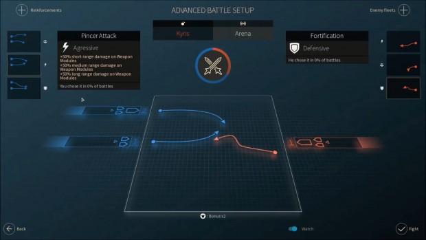 Vor dem Kampf wird eine passende Strategie gewählt. (Screenshot: Golem.de)
