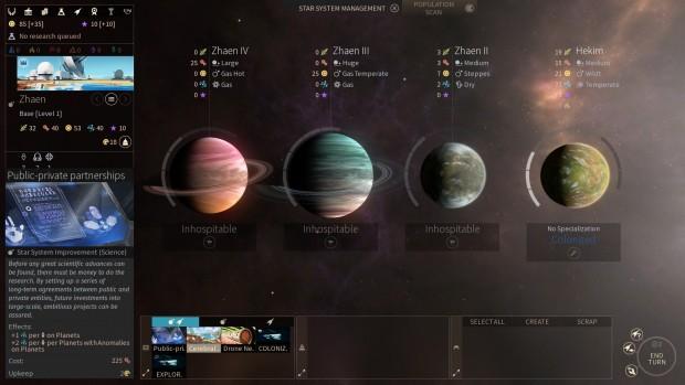 Eine Planetenübersicht in Endless Space 2 (Screenshot: Golem.de)