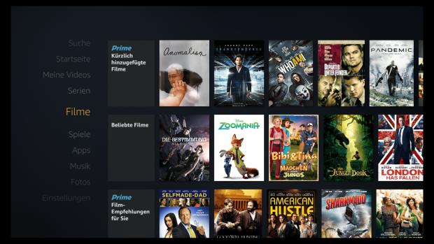 Auf der Fire-TV-Oberfläche erscheinen keine Prime-Markierungen mehr. (Screenshot: Golem.de)