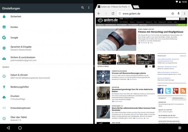 Zweifenstermodus von Android 7.0 im Querformat auf einem Pixel C (Screenshot: Golem.de)