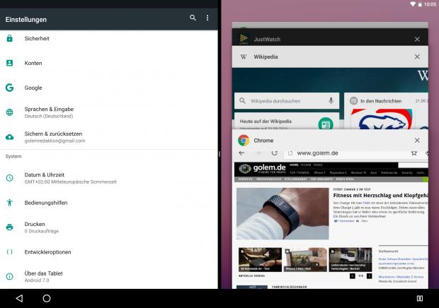 Im rechten Bereich kann die App gewechselt werden, links ist sie fest. (Screenshot: Golem.de)