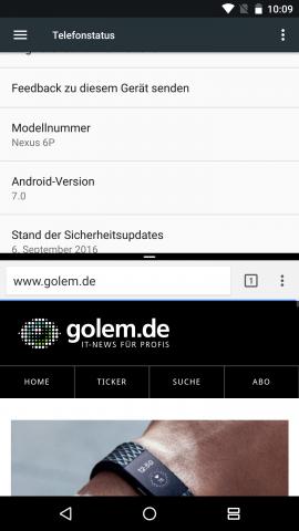 Der Zweifenstermodus von Android 7.0 im Hochformat auf einem Nexus 6P (Screenshot: Golem.de)