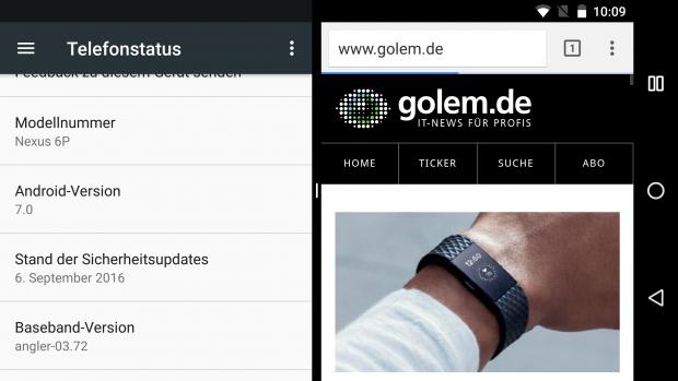 Der Zweifenstermodus von Android 7.0 im Querformat auf einem Nexus 6P (Screenshot: Golem.de)