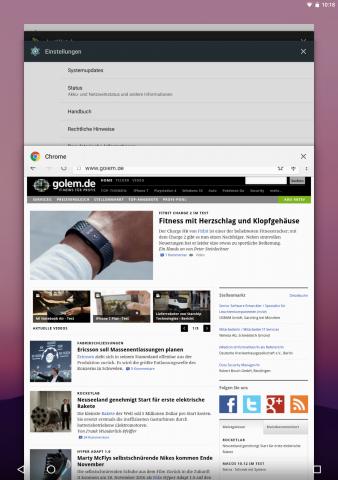 In der Übersicht der zuletzt aufgerufenen Apps sind die App-Karten größer geworden. (Screenshot: Golem.de)