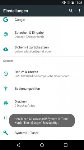 Der System UI Tuner muss erst freigeschaltet werden. (Screenshot: Golem.de)