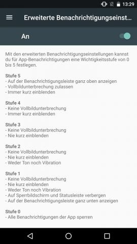 Bei Bedarf lässt sich die Benachrichtigungspriorität für einzelne Apps festlegen. (Screenshot: Golem.de)