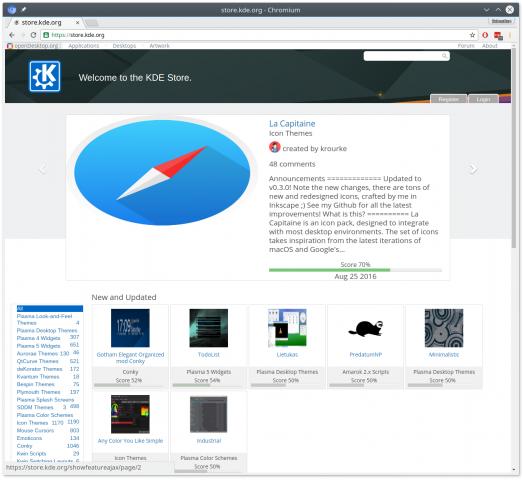 Der neue KDE Store (Bild: Sebastian Kügler)