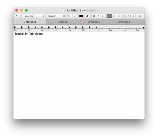 Neuer Tab-Modus in Textedit (Screenshot: Golem.de)