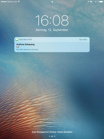 Unter iOS 10 werden Benachrichtigungen auf dem Sperrbildschirm nicht nur angezeigt, ...