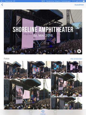 """Die Fotos-App kann jetzt Bilder von Orten und bestimmten Zeitpunkten gruppieren und zu einem kleinen Video zusammenfassen - Apple nennt das """"Andenken"""". (Screenshot: Golem.de)"""