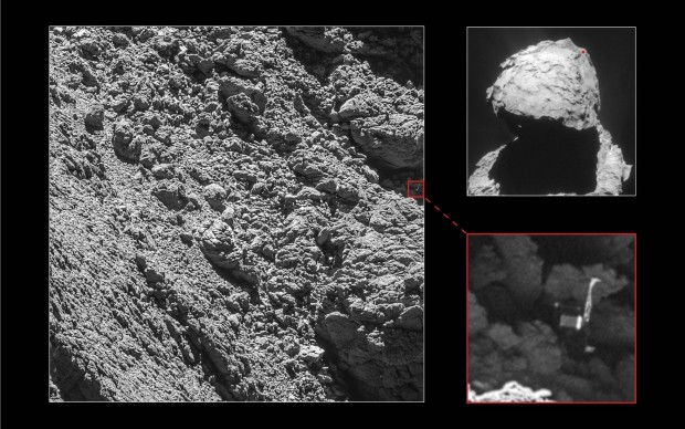 Auf diesem Foto vom Kometen Thscuri haben Esa-Forscher den Lander Phliae gefunden. (Bild: Esa/Rosetta/MPS for OSIRIS Team MPS/UPD/LAM/IAA/SSO/INTA/UPM/DASP/IDA - CC BY-SA IGO 3.0)