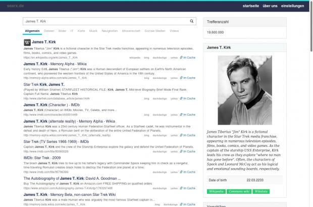 Allgemeine Suchergebnisse von Searx (Screenshot: Golem.de)