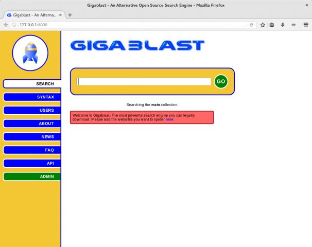 Die Suchmaske von Gigblast. (Screenshot: Golem.de/Jan Weisensee)