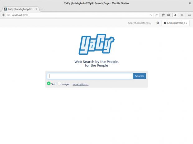 Startseite einer Yacy-Installation (Screenshot: Golem.de/Jan Weisensee)