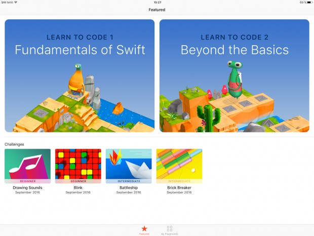 So begrüßt Swift Playgrounds den Nutzer. (Screenshot: Alexander Merz/Golem.de)