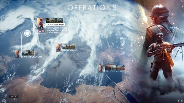Der Startbildschirm der Operations von Battlefield 1 (Screenshot: Golem.de)